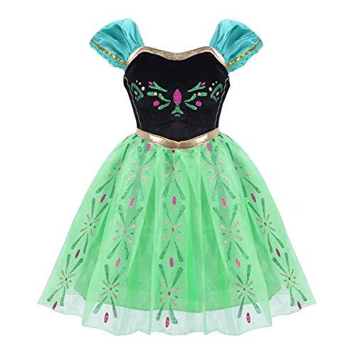 Kinder Eis Prinzessin Kostüm - Agoky Prinzessin Kleid Mädchen Cosplay Kostüm Halloween Outfit Weinachten Fasching Karneval Verkleidung Party Geburtstag Bekleidung Grün 98-104/3-4Jahre