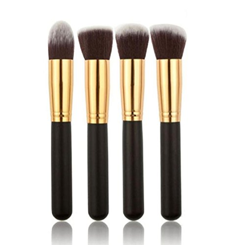 Vovotrade 4 Pcs Black Synthetic Kabuki Flat Foundation Brush Maquillage Simple Cosmetic Brush