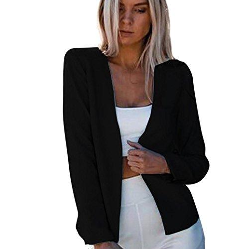 VEMOW Herbst Winter Elegante Frauen Damen Langarm Strickjacke Mantel Front Casual Casual Draußen Jacke Outwear Lose Top(Schwarz, EU-38/CN-M)