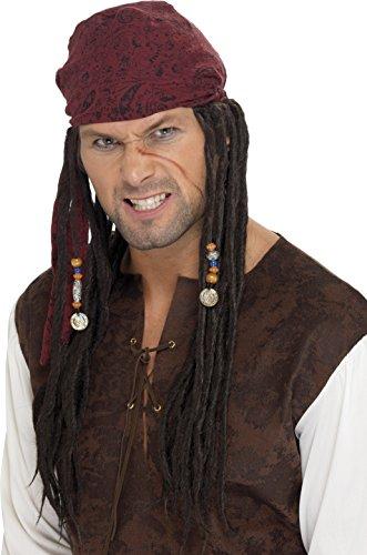Smiffys Herren Piraten Perücke, Braun, One Size, (Authentische Perücke Piraten)
