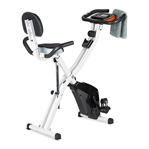 Relaxdays Heimtrainer Fahrrad, 120 kg, platzsparend klappbar, Arm- & Rückenlehne, Display, Magnetbremse, F Bike, schwarz