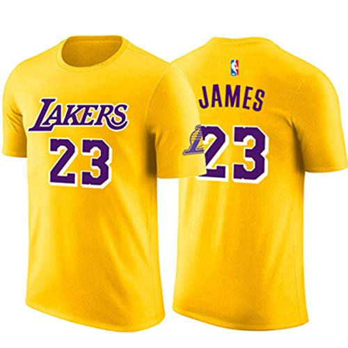 NBA Männer T-Shirt L.A Lakers James # 23 Basketball Kurzarmtrikot Basketballtraining City Edition Atmungsaktives Sweatshirt Yellow-XXXXL