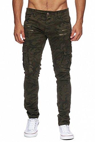 MEGASTYL Herren Biker Jeans Hose Cargo Taschen Stretch-Denim Slim Fit Camouflage Dark