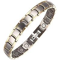 Unisex-Erwachsene Zwei Ton Armband Titan magnetisch Golf für Arthritis Handgelenk Gelenkschmerzen mit Fold Over... preisvergleich bei billige-tabletten.eu