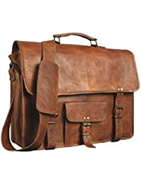 100 % Genuine Leather Vintage Style Laptop Messenger Briefcase Top Handle Travel Business Trip Bag Shoulder Bag... - B074NWYKX5