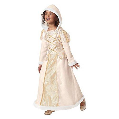 Schnee Königin Kostüm Kleid mit Plüschfell Kapuze Weiß Gold Fasching Halloween Karneval Mädchen (140-152)