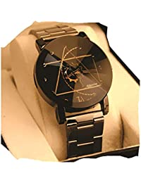 Bonjour Analogue Women's & Girls' Watch (White Dial Black & Rose Gold Colored Strap)