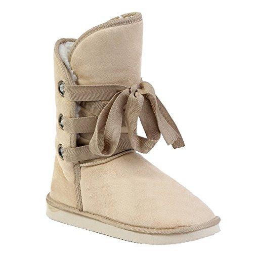 Minetom Femme Lacing Automne Hiver Fausse Fourrure Chaleureux Cheville Boucle Bottes De Neige Chaussures