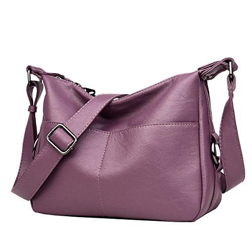 LAIDAYE Sacchetto Di Spalla Delle Signore Delle Signore Sacchetto Di Cuoio Molle Del Sacchetto Del Messaggero Casuale Dello Zaino Confezione Toracica Purple