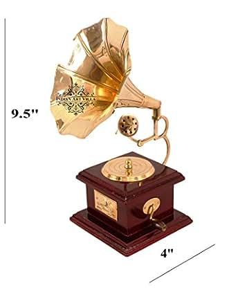 Indian Art Villa Vintage Style Brass Gramophone Phonograph Showpiece, 9.5 Inches (Gold, IAV-C-11-127B)