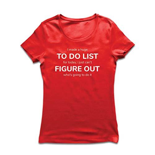 lepni.me Frauen T-Shirt Hergestellt EIN to-Do-Liste Lustiges Geschenk mit Sprüchen (X-Large Rot Mehrfarben)