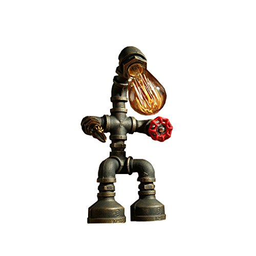 Tony's home Industrial Retro Style Rust Iron Robot Plomberie Pipe Desk Lampe de table Lampe avec valve rouge Poignée et interrupteur LED E27 Light for Living Room Desk Lamp ( Couleur : D )