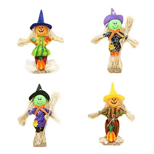 Vogelscheuche Kleine Kostüm - Vosarea 4 stücke Halloween Vogelscheuche Kürbis Puppe Desktop Ornamente für Garten Haus Hof Veranda Halloween Dekoration