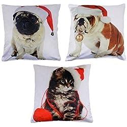 3x Navidad BULLDOG perro gato rojo blanco terciopelo fundas de cojín 17-43cm
