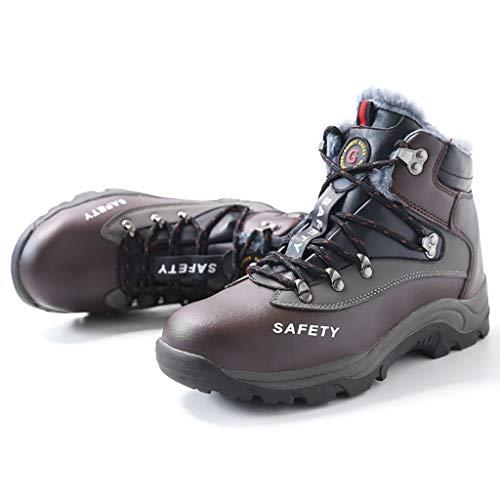 YXWa Ingenieurstiefel Sicherheitsschuhe Männer Sicherheitsschuhe Stahl Kopf Schuhe Arbeitsschuhe Knöchel Leder Stahl Mittelsohle Schutz und SAMT Sportbekleidung für Männer (größe : 37)
