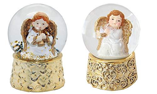 Minium Collection 2-90-96 2 süße Mini-Schneekugeln mit Goldenem Sockel Engel mit Musikinstrument, Durchmesser 45mm