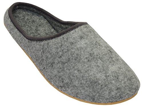Filzpantoffeln Hausschuhe aus Filz mit Gummisohle Filzlatschen Unisex Damen Herren Grau FD01 (44)