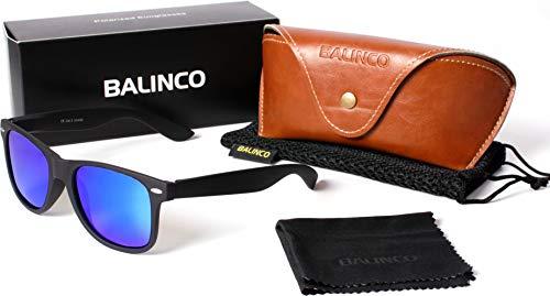 Hochwertige Polarisierte Nerd Rubber Sonnenbrille im Set (24 Modelle) Retro Vintage Unisex Brille mit Federscharnier (Black-Blue Mirror)