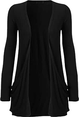 Ladies Long Sleeve Pocket Cardigan Womens Top Sizes 8-22