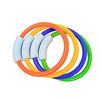 Wotow Dive Rings, 4 Piece Plastic Diving Rings Underwater Swimming Toy Rings Dive Training Gift For Boy Girl Students Recreation Play Summer Pool Toy Assorted Colors Dive Rings Kids Pool Water Game (4 Pcs) 1