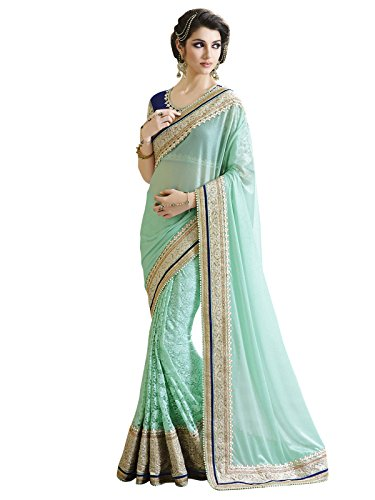 Varayu Silk & Georgette Saree (95Sj3413_Aqua Blue)