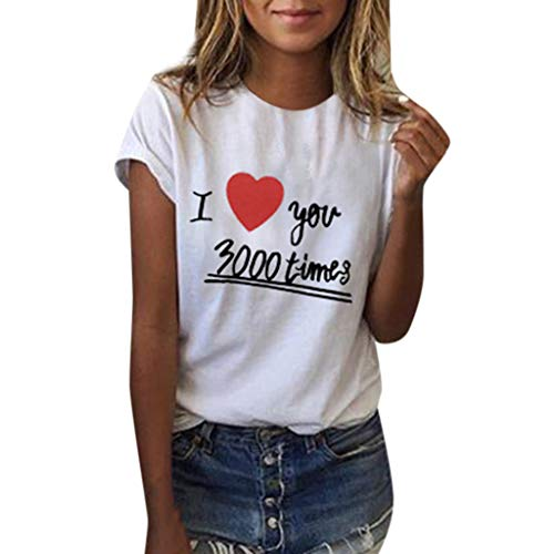 Mode Shirt Damen Herz Druck I Love You 3000 Tees T-Shirt Kurzarm Einfache Top Lässige Bluse Party Tunika Weiß L