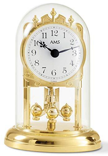 AMS Jahresuhr, Holz, Gold, 15 X 10 X 5.5 cm (Gold-pendel-uhr)