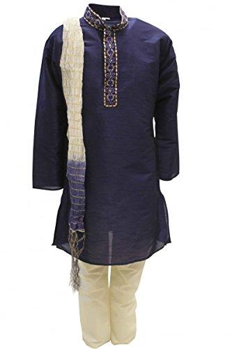 07 Marine-Blau und Elfenbein Jungen Kurta Pyjama Indian Suit Bollywood Fancy Dress 5 years (Fancy Indian Dress)