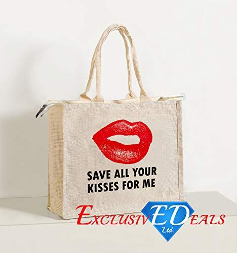 Jute Einkaufstasche Sackleinen Eco wiederverwendbar Geschenk Tote Lunch Handtasche-30cm (H) X 34cm (W) (Speichern Sie alle Ihre Kisses für mich) -