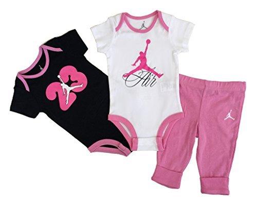 Nike Jordan New Born Baby Girl Bodysuit and Pants 3 Pcs Layette Set