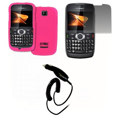EMPIRE Hot Pink Rosa Gummierte Harte Case Tasche Hülle Cover + Displayschutzfolie Film + Auto Charger (CLA) for Boost Mobile Motorola Theory X430 Boost Mobile Motorola