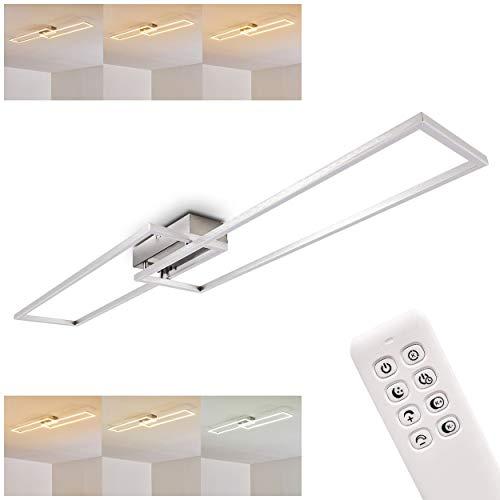 Elégant plafonnier LED Colomero en acier argenté - Deux rectangles lumineux pour chambre - salon - couloir - tamisable avec la télécommande - lumière dimmable de 2700 à 5000 Kelvin