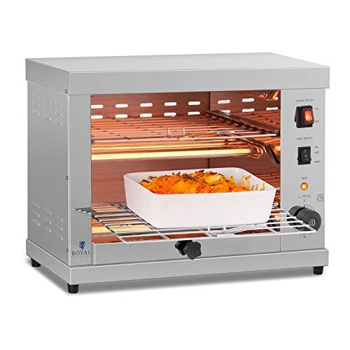 Royal Catering Salamandre Toaster Electrique Grill Cuisine RCET 360 (3.250W, 27,5 x 50 x 38,5 cm, 3 Élément chauffant à Quartz, espacement entre les grilles 7 cm, tiroir à miettes)