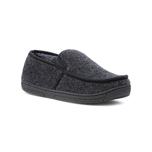 The Slipper Company - Mens Grey Fleece Faux Fur Lined Moccasin Slipper - Size 10 UK - Grey