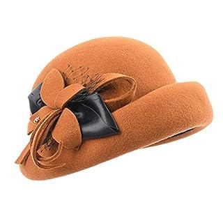 Amazplus Damen Fedora Wolle 100% Mode Weich Herbst und Winter Warm bleiben Mützen Mit Bogen Dekoration Einstellbar Größe Orange 57cm