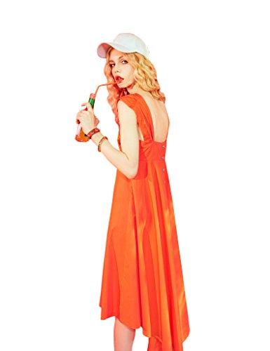 Elf Sack Womens Wide Straps Lange solide Kleid Orange