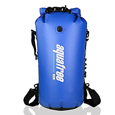 Aquafree Dry Bag, 20L Blue Dry Backpack,( Inflatable Mouth & Side handle & Detachable Waistband & D-rings included,) Comfortable and Heavy-Duty Grab Handle & Shoulder Strap, BEST Material Waterproof Backpack, 100% Waterproof