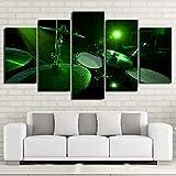 mmwin HD Imprimé PictureWall Art pour Le Salon 5 PieceGreen Light Drum Décor À La...