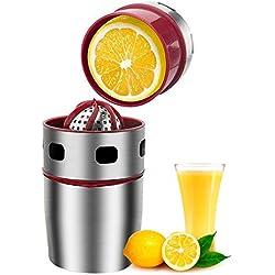 Pawaca Presse-agrumes Manuel en Acier Inoxydable, Presse-citron, Centrifugeuse Manuelle pour Oranges Usage Domestique, Rapide Facile et Propre pour Obtenir un Authentique Jus Sain