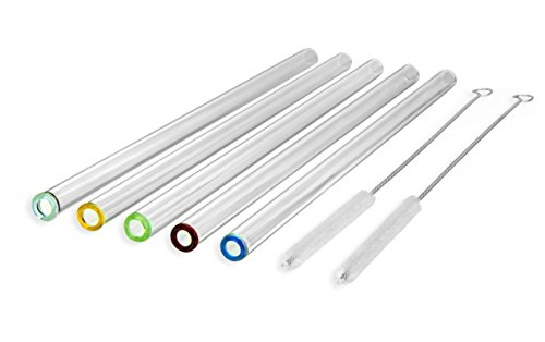strawgrace-handmade-glass-straws-with-coloured-tips-clear-straight-9-in-x-10-mm-5-pack-with-2-cleani