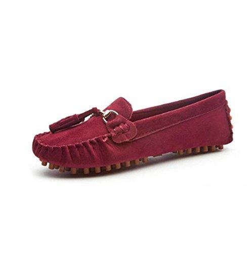 Wywq 2018 Printemps Chaussures Nouveaux Pois Plat Femme Avec Tête Ronde Confortables Chaussures Plates Paresseux Rouge