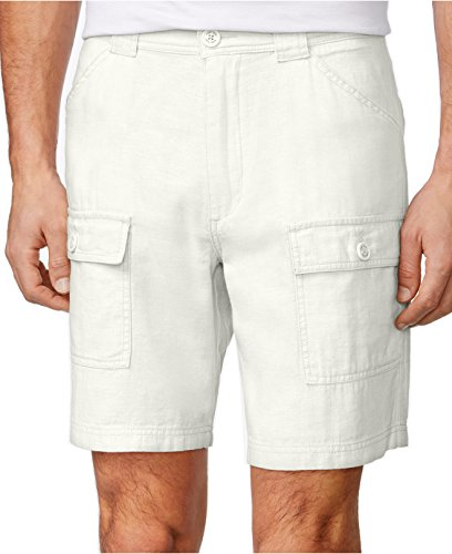 Tasso Elba Mens Linen-Blend Casual Cargo Shorts (44) (Linen-blend Shorts Cargo)