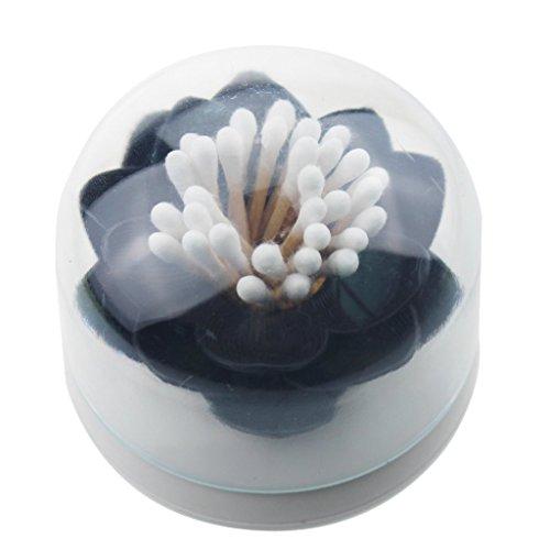 iLory Titulaire Lotus Flower coton Swab Bud, Petit Q-tips Toothpicks Storage Organizer Box Case (Black)