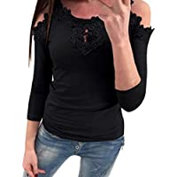Yvelands Tops de suéter de la Blusa del cordón de la Manga Larga sin Tirantes sólida sin Tirantes de Las señoras de Las Mujeres de la liquidación