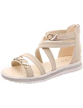 Ba Zha Hei-Sandalias Sandalias, de Vestir Moda Mujer Verano Sandalias Peep-Toe bajo Zapatos Romano Sandalias Ojotas...