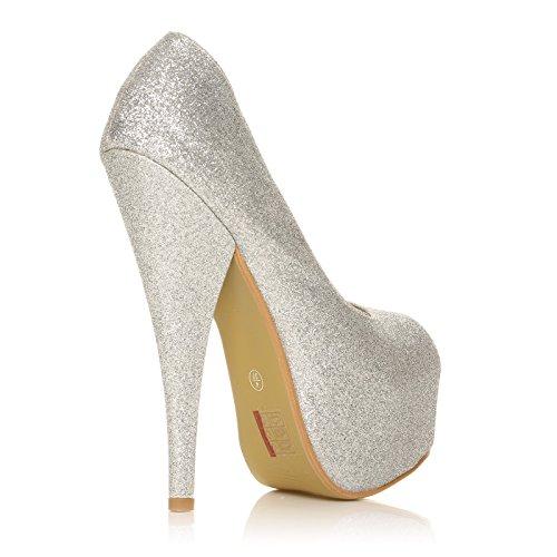 Scarpe Tacco a Spillo e Plateau Eleganti Sexy da Donna Argento Glitter Punta Aperta Mod. PEEPTOE Argento Glitter