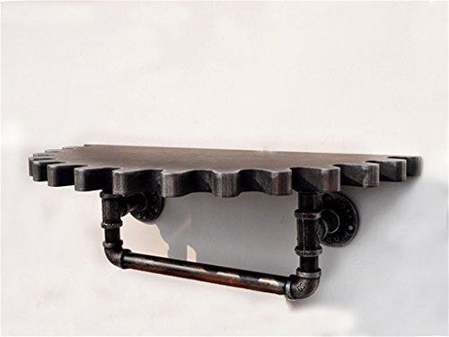 CL-@ Weinlese-hölzernes Gang-Wand-Regal-Metalleisen-Rohr-Regal-Wand-hängendes Multifunktions-an der Wand befestigtes Schindel-Bücherregal-Lagerregal-Wand-Dekorations-Entwurfs-LOFT-Art Wandregal Dekor (Schindel-wand-dekor)