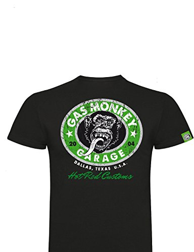 Gas Monkey Garage T-Shirt Green Hot Rod Custom Logo Distressed Black Green
