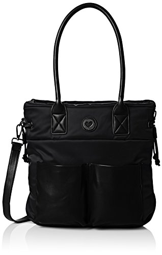 lola-casademunt-womens-bolso-nylon-bolsillos-eco-piel-handbag-black-size-one-size