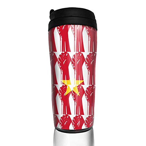 Travel Coffee Mug Cameroon Flag Raised Fist 12 Oz Spill Proof Flip Lid Water Bottle Environmental Protection Material ABS